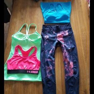 Lululemon & Armour  leggings  bra & two tops